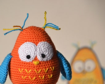Amigurumi owl, funny toddler's toy, birthday party decor, nursery room decoration