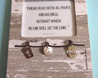 Pursue Peace with All People Christian WORD Art Bible Verse Hebrews 12 Christian Witness