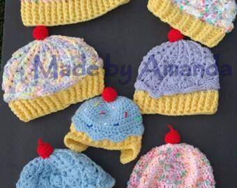 Crochet Cupcake Hat - cute and yummy children's beanie - sweet little girl's hat
