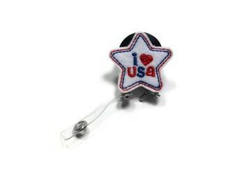 I Heart USA Badge Reel, I Love USA Badge Reel, Name Tag Holder, Patriotic Badge Reel, Work Gift