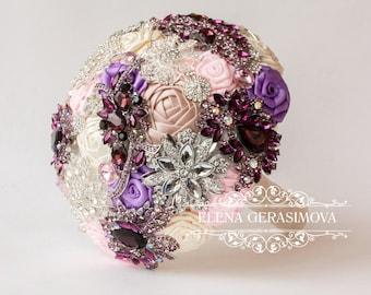 Brooch Bouquet. purple pink Fabric Bouquet, Unique Wedding Bridal Bouquet