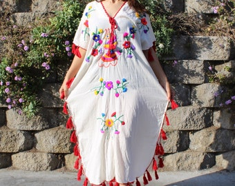 Cotton Bohemian Dress with Hand-embroidery