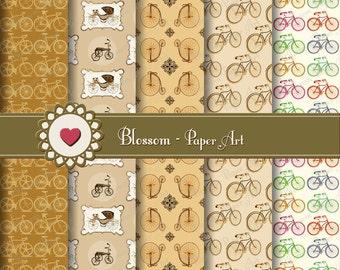 Bicycles Digital Paper Brown Digital Paper Pack, Digital Scrapbooking Paper Brown, Vintage Papers - Scrapbook - 1033