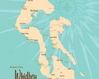 Whidbey Island, WA Map - Canvas Print