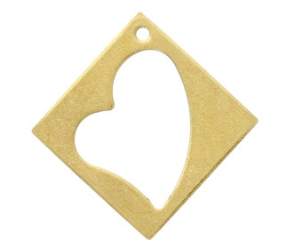 Gold Stamping Tags - Rhombus Pendants - Heart - 26mm - 10pcs - Ships IMMEDIATELY from California - GC70