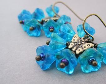 Tropical Earrings Teal Blue Flowers Iridescent Purple Small Butterfly Cluster Earrings Fancy Jewelry Mediterranean Blue Insects Boho Hippie
