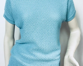 Women's top kimono/light blue/small size/100% Merino /handmade