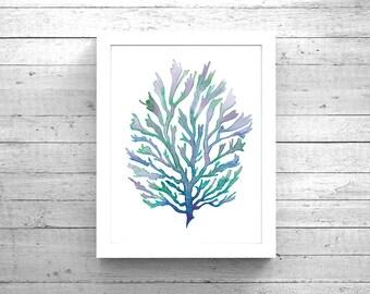 Purple Blue Green Seaweed Watercolor Printable Art, Seaweed Printable Art, Digital Download, Seaweed print,  Seaweed painting, Beach Decor