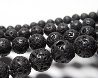 5 beads 12 mm black lava stone