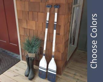 """WOODEN OARS, pair of oars, decorative oars, painted oar, oar decor, nautical wall decor, lake house decor, beach house decor, 2 oars 48""""x5"""""""