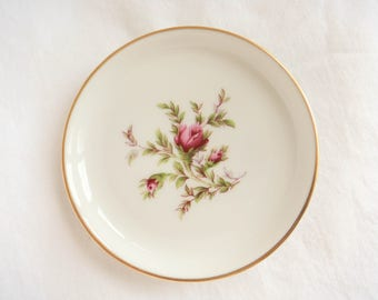 Rosenthal Butter Pat Dish White with Pink Roses Gold Rim Made in Germany