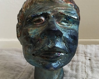Iridescent Ceramic Head- Raku