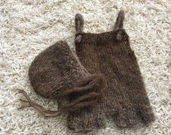 Newborn knit mohair bonnet and short overall set ,knit,crochet,photo prop,coming home,gift idea