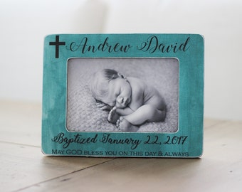 Baptism Gift for Boy Personalized Picture Frame Baptized Godchild Goddaughter Godson Godparents