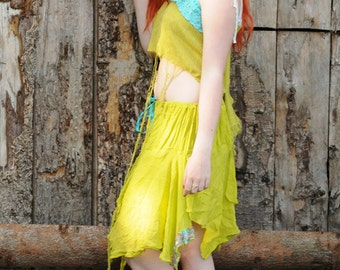 Green Fairy Dress, Tattered Woodland pixie costume, silk chiffon outfit, crop top & skirt Tribal Fusion Festival clothing