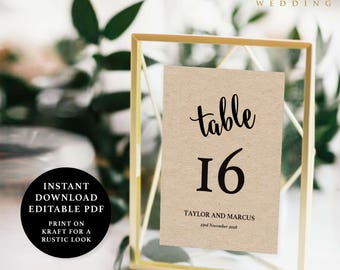 Table Number Template, 5x7, Instant Download Printable, Editable PDF, EWTN006