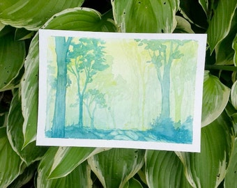 "Magical Forest - Watercolor Print - Wall Art - Home Decor - Forest Art - Landscape - Nature - Sizes 5""x7""- 32""x40"""
