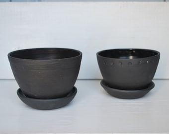 Black Succulent Planter, Herb Planter, Handmade Ceramic Planter