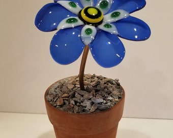 Glass Flower Blue Potted