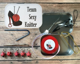 LIMITED EDITION Team Sexy Knitter: The Knitter's Tool Tin for your Knit Travel Bag