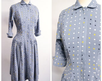 1940s Grey mustard polka dot rayon zip front day dress / 40s spotty full skirt housedress - XS S