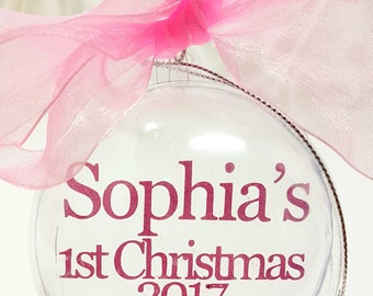 Baby's First Christmas Personalised Baubles Xmas Tree Decorations Baby 1st Gift