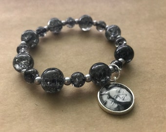 Personalized Stretch Bracelet with Silver Tone Photo Charm. Black, Silver Beads.