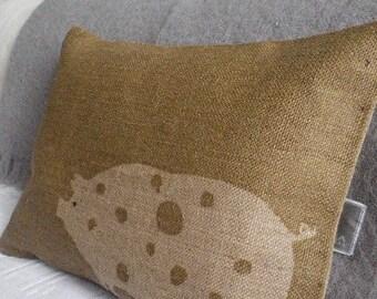 hand printed  natural rustic hessian piggy cushion