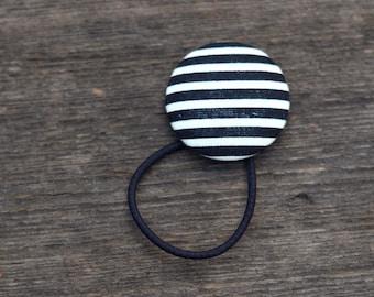 Black and White Hair Button