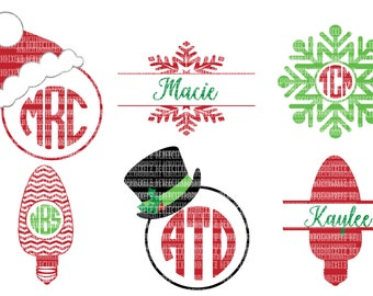 Christmas SVG Files, Monogram Frame for, Silhouette and, Cricut Design Space, Commercial Use Ok, dxf eps files, Scrapbooking Templates,