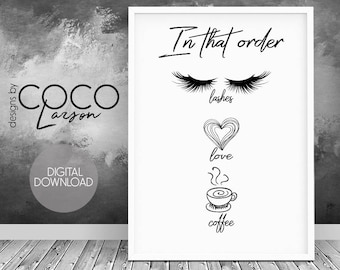 Makeup Print coffe printable Makeup Printable coffee print lashes wall art gift coffee lover instant download office decor Makeup Lover
