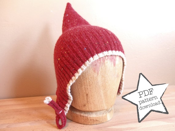 Pixie Hat sewing pattern recycle your old sweater Elf hat: