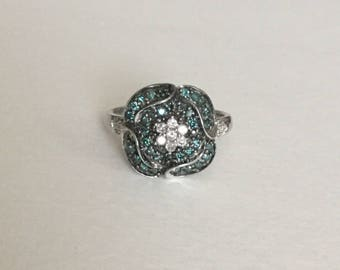 Blue and white DIAMOND floral ring in sterling silver nearly 1 carat total weight