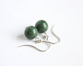Spring Jasper Earrings Argentium Silver Sterling Silver Green Jasper Natural Stone Simple Earrings Minimal Earrings Dark Moss Green #17567