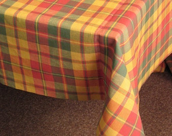 """Linen Tablecloth Checked Green Red Orange Yellow Multicolored 118,1"""" x 56.5"""""""