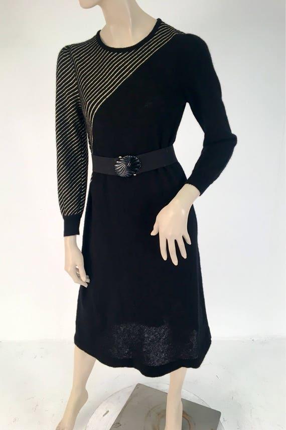 Vintage 1970s Black Gold Stripe Halston Sportswear Sweater Dress M/L