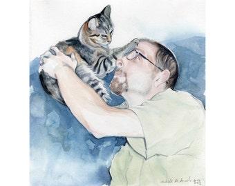 11x14 Custom Watercolor  Portrait