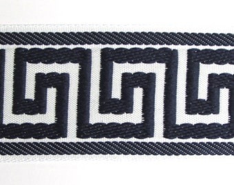 GREEK KEY flat trim 2.25 inch navy white