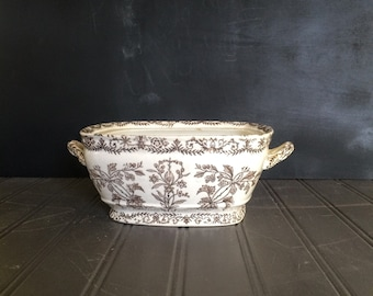 Vintage T & R Boote Lahore Pattern Brown Trasferware Made in England Casserole Dish 1880s Ironstone