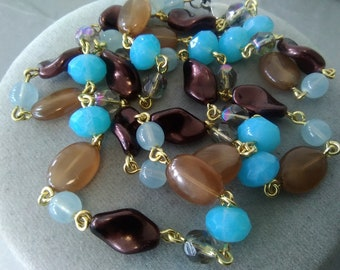 Brown and Blue Czech Glass Necklace, Longer Length