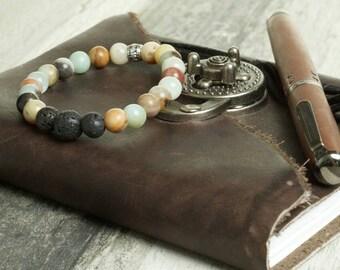 Amazonite and Lava Stone Essential Oil Diffuser Bracelet