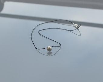 Necklace minimalist black silk - semi precious faceted silver Pyrite briolette pendant - Sterling Silver 925 ZOUX115 gift