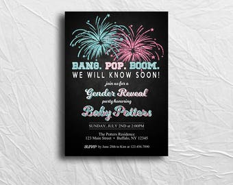 Fourth of July Gender Reveal Invitation, 4th of July, Bang Pop Boom, Custom Invitation, Printable File