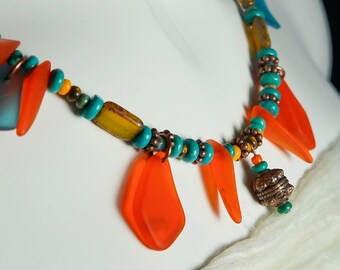 Bold Orange statement necklace Bohemian Necklace, Orange Boho necklace, Blue Bohemian Necklace, Sea Glass Necklace, Beach jewellery,