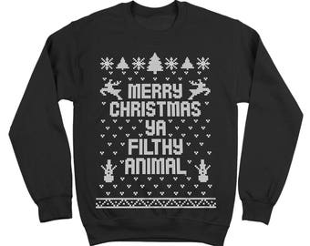 Merry Christmas Ya Filthy Animal Ugly Sweater Contest Retro Cute Crewneck Sweatshirt DB0002