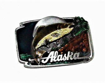 Alaska Belt Buckle Enamel Beautiful Alaska King Chinook Fishing Buckle 1989 Siskiyou Buckle Co.