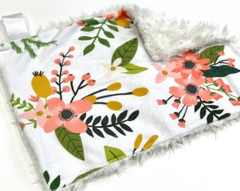 Coral Sprigs and Bloom Floral Baby Girl MINKY Lovey Blanket, MINI Minky Baby Blanket, Taggie Blanket, Baby Bedding, Baby Lovey Blanket