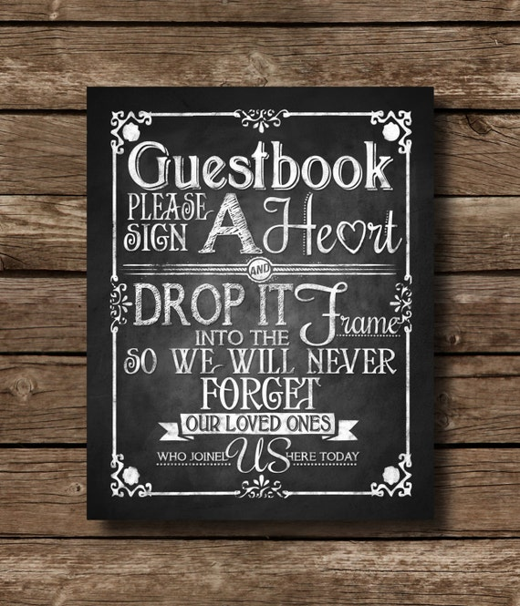 Sign a heart guestbook sign printable chalkboard wedding like this item solutioingenieria Image collections