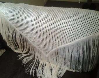 Vintage Handmade Cream Crocheted Sequin Shawl - Piano Scarf - Extra Long Fringe