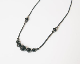 Black Onyx Necklace, gemstone necklace, 18 inch necklace, onyx and silver jewelry